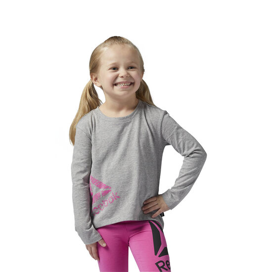 Reebok - Girls Essentials Long Sleeve Shirt Medium Grey Heather BS1493