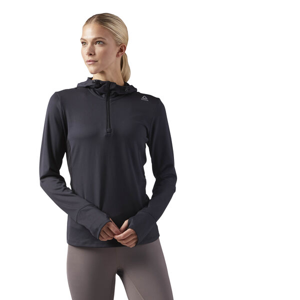 Sustainable Half Zip Running Jacket Black CE4646