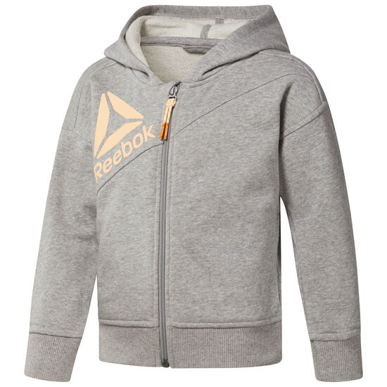Reebok - Girl's Full Zip Hoodie Medium Grey Heather CF4244