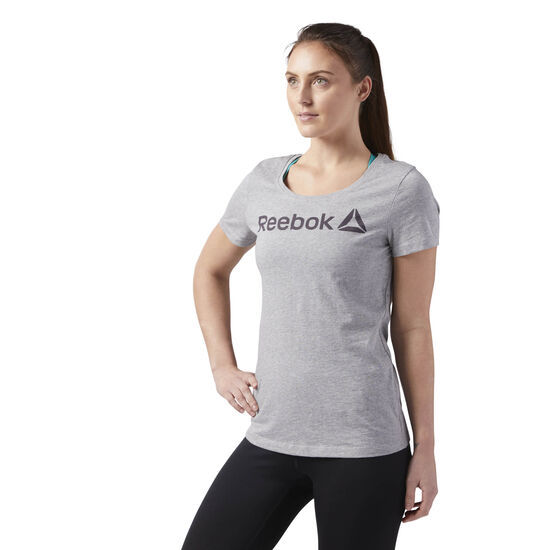 Reebok - Reebok Scoop Neck Tee Medium Grey Heather/Smoky Volcano CF4454