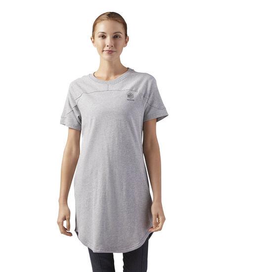 Reebok - Open Back T-Shirt Dress Medium Grey Heather CF9493