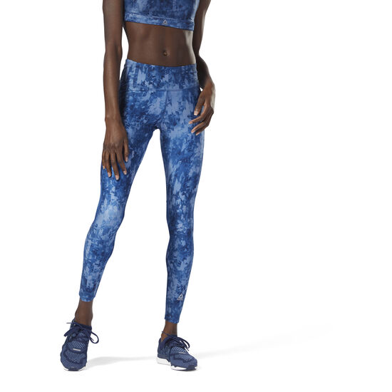 Reebok - Running Tights - AOP Bunker Blue CY4631