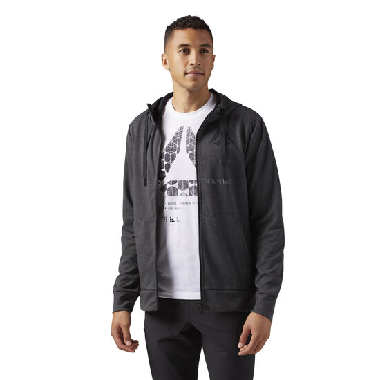 Reebok - Speedwick Full Zip Hoodie Dark Grey Heather CG1272