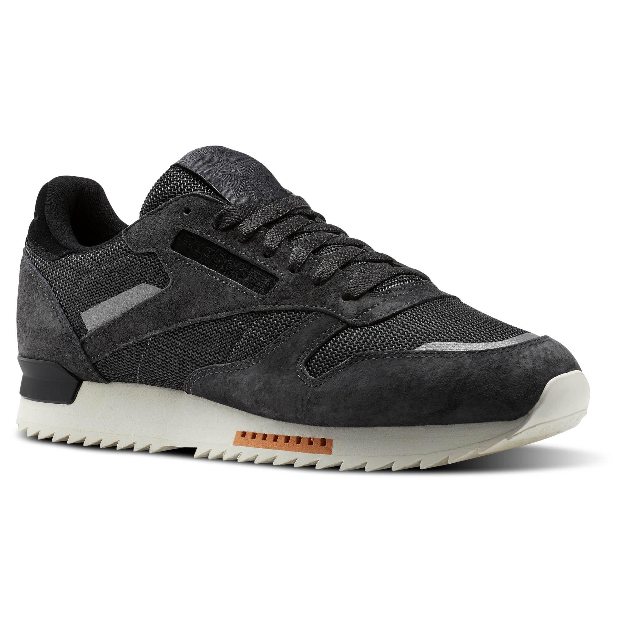 Mens Classic Leather Ripple Sm Trainers, Black Reebok