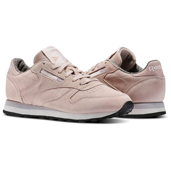 Reebok - Classic Leather Weathered & Washed Shell Pink/Whisper Grey/Lilac/Black BS7865