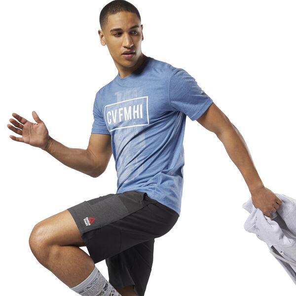 Reebok CrossFit Burnout SS Tee - Solid Blue D94881