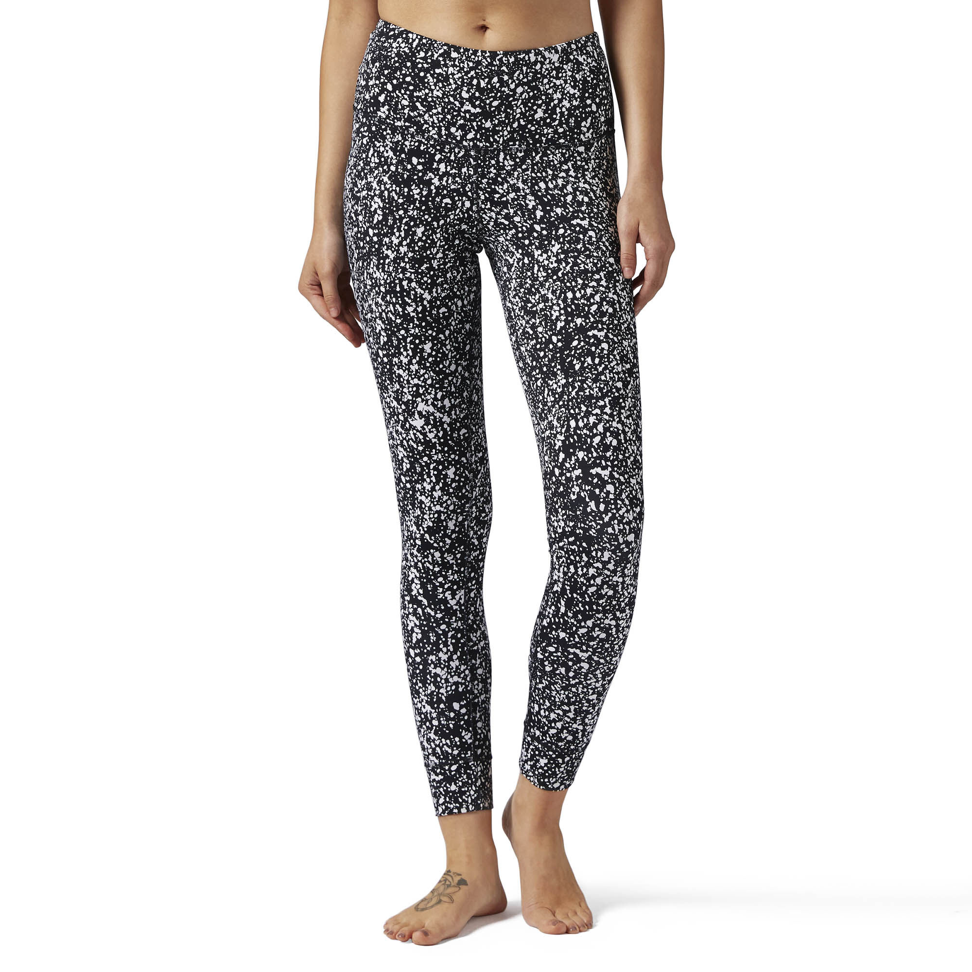Reebok - High Rise Lux Bold Legging - Speckle Print Black BQ8179