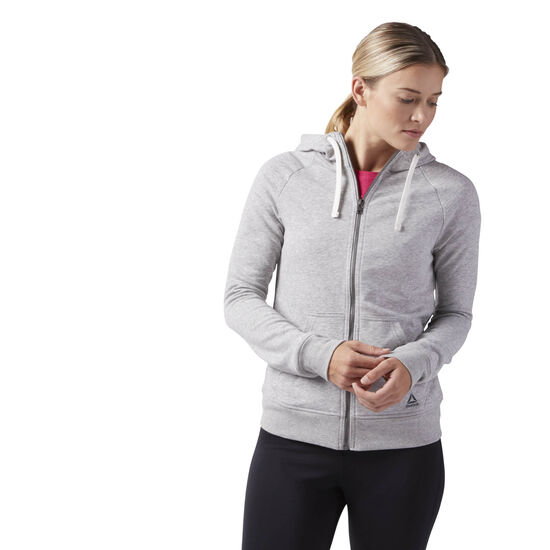 Reebok - Reebok Training Essentials French Terry Full Zip Hoodie Medium Grey Heather CF8595