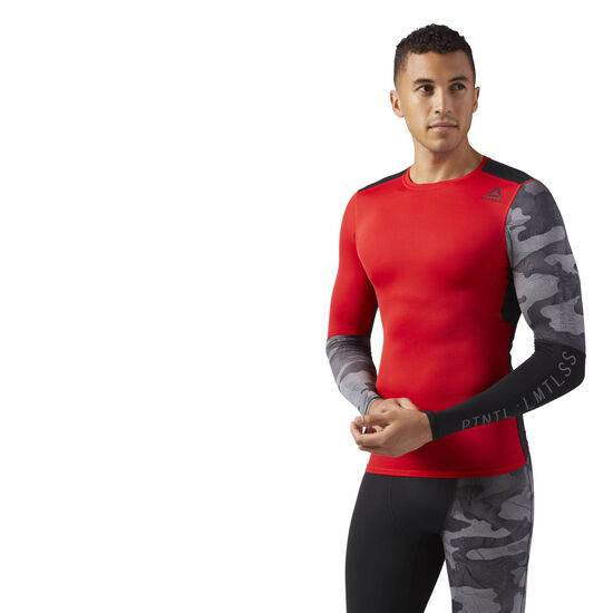 Reebok - ACTIVCHILL Graphic Long Sleeve Compression Shirt Primal Red CD5211