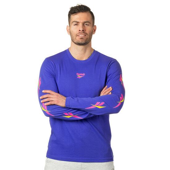 Reebok - LF Long Sleeve Print T-Shirt Acid Blue DN9808