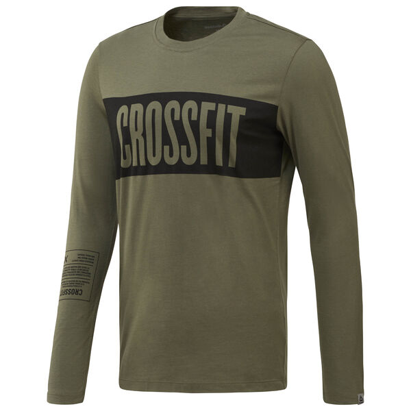 Reebok CrossFit Stripes LS T-Shirt Green CF4556