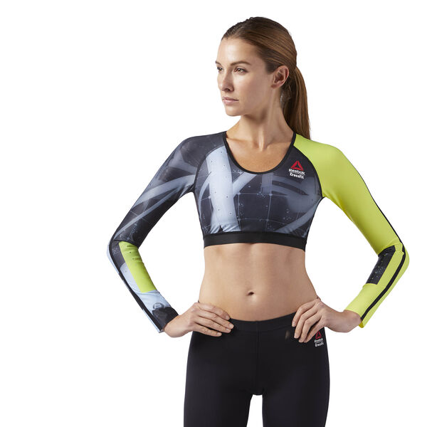 Reebok CrossFit Compression Cropped Long Sleeve Shirt Black CD1399