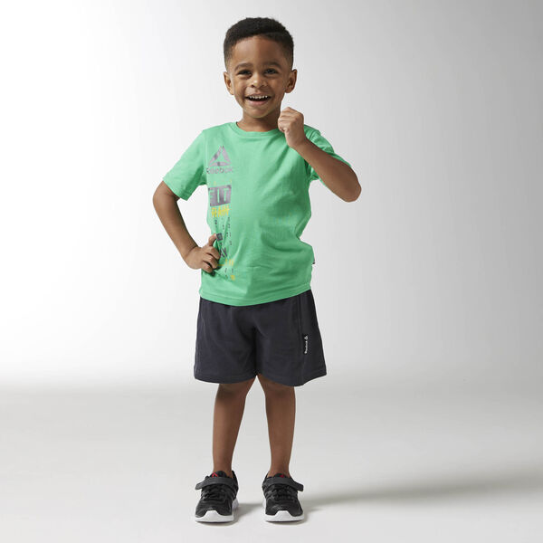 Boys Essentials Short Sleeved Logo Set Green BK4383