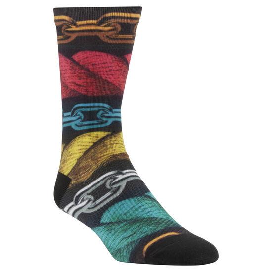 Reebok - ENH Rope and Chain Printed Crew Socks Multicolor/Black/Primal Red CV5996