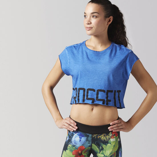 Reebok - Reebok CrossFit Washed Crop Tee Awesome Blue BJ9875