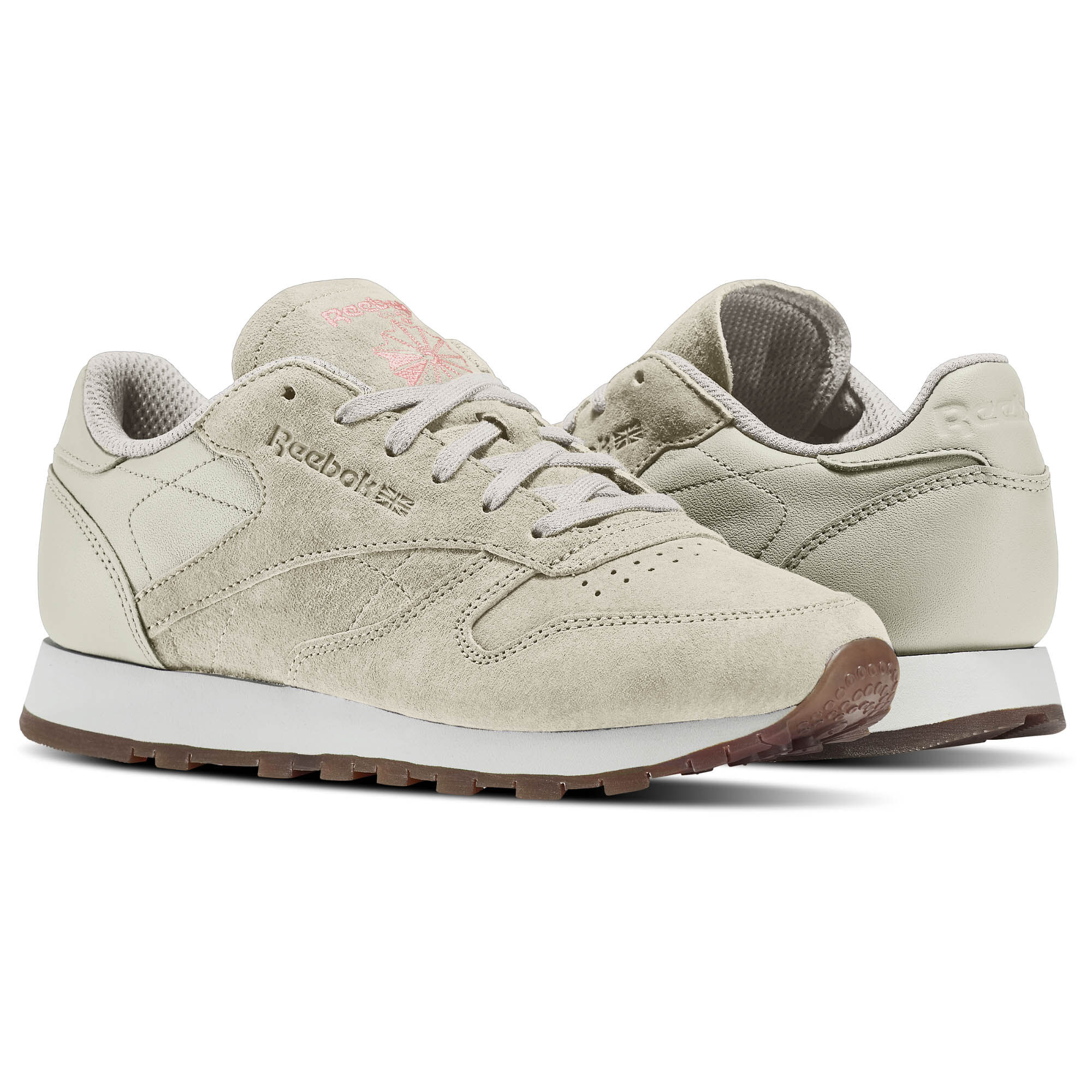 Womens Classic Leather Tonal NBK Low-Top Sneakers, Grey Reebok