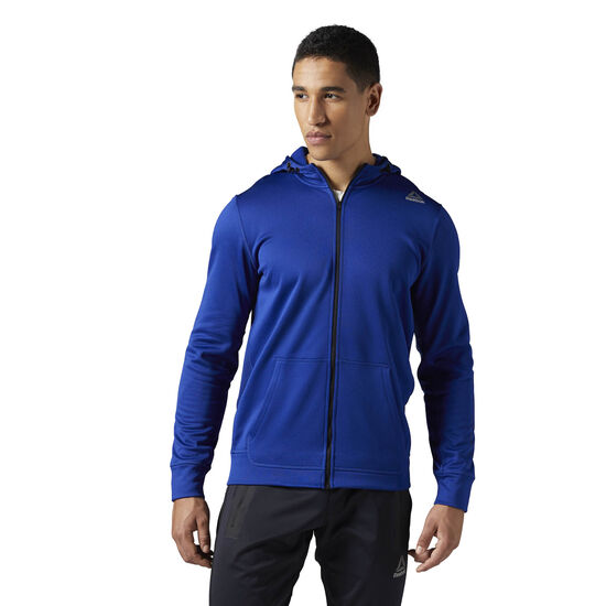 Reebok - Workout Ready Graphic Full Zip Fleece Hoodie Deep Cobalt BR7775