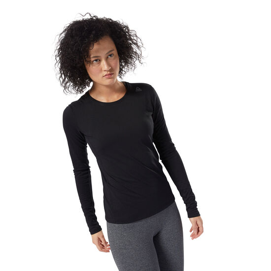 Reebok - LES MILLS™ BURNOUT LONG SLEEVE TEE Black DJ2192