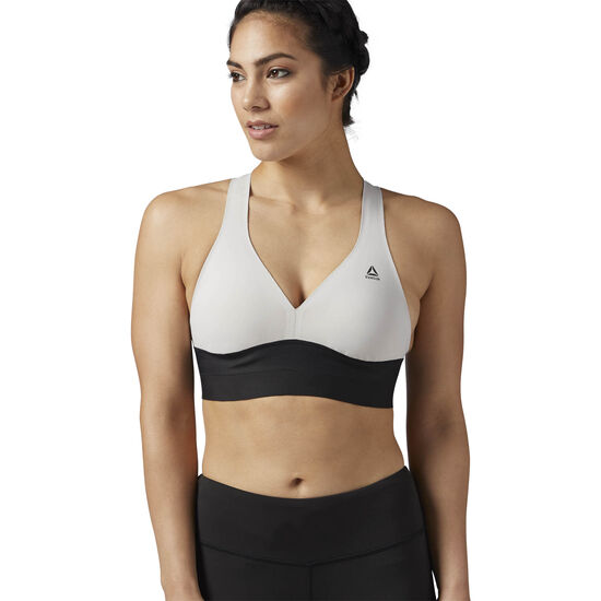 Reebok - Reebok Combat Smoothgrip Sports Bra White/Grey/Sand Stone BR0280
