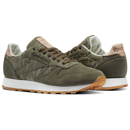 Reebok - Classic Leather Needlecraft Pack Army Green/Chalk/Sand Stone-Gum BS6237