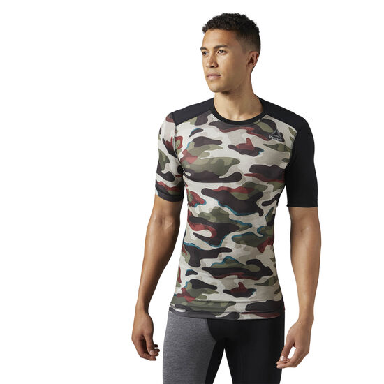 Reebok - ACTIVCHILL Compression Tee - Camo Print Army Green BR9566