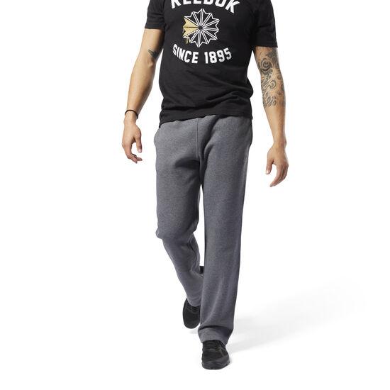 Reebok - Training Essentials Fleece Open Hem Pants Dark Grey Heather D94211