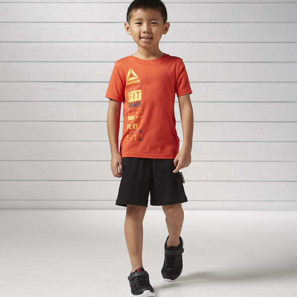 Boys Essentials Short Sleeved Logo Set Orange BK4384