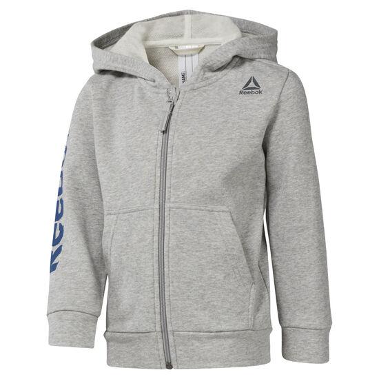 Reebok - Boys Training Essentials Fullzip Hoody Medium Grey Heather DM5552