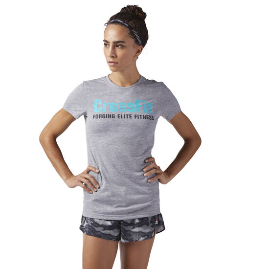 Reebok - Reebok CrossFit Speedwick F.E.F. Tee Medium Grey Heather/Solid Teal CF5766