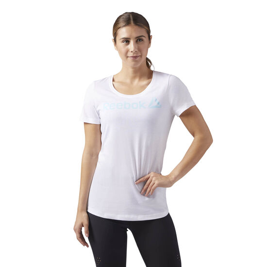 Reebok - Reebok Scoop Neck Tee White/Blue Lagoon CF4453