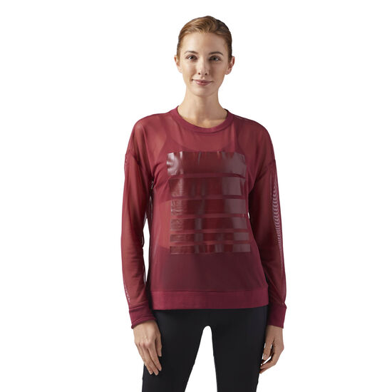 Reebok - Mesh Long Sleeve Tee Urban Maroon CD3770