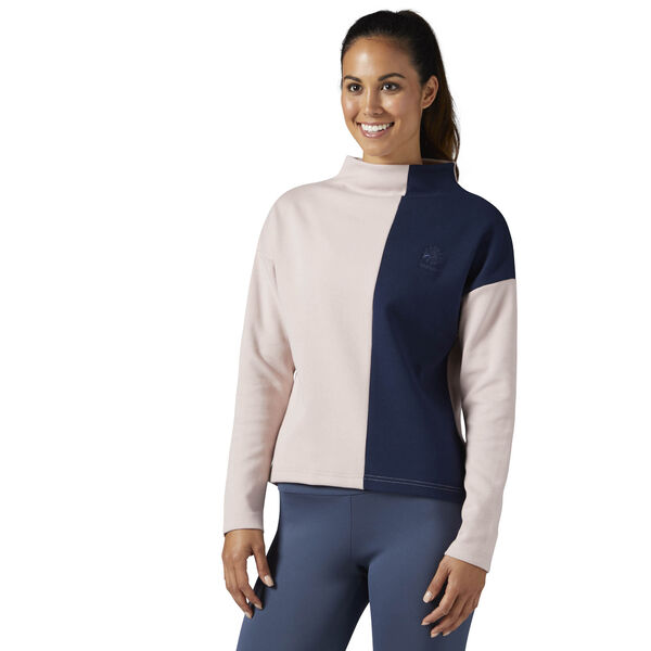 Reebok Classics Mock Turtle Neck Long Sleeve Shirt Pink BR7400