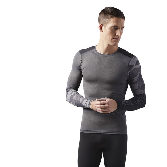 Reebok - ACTIVCHILL Graphic Long Sleeve Compression Shirt Dark Grey Heather CF3714