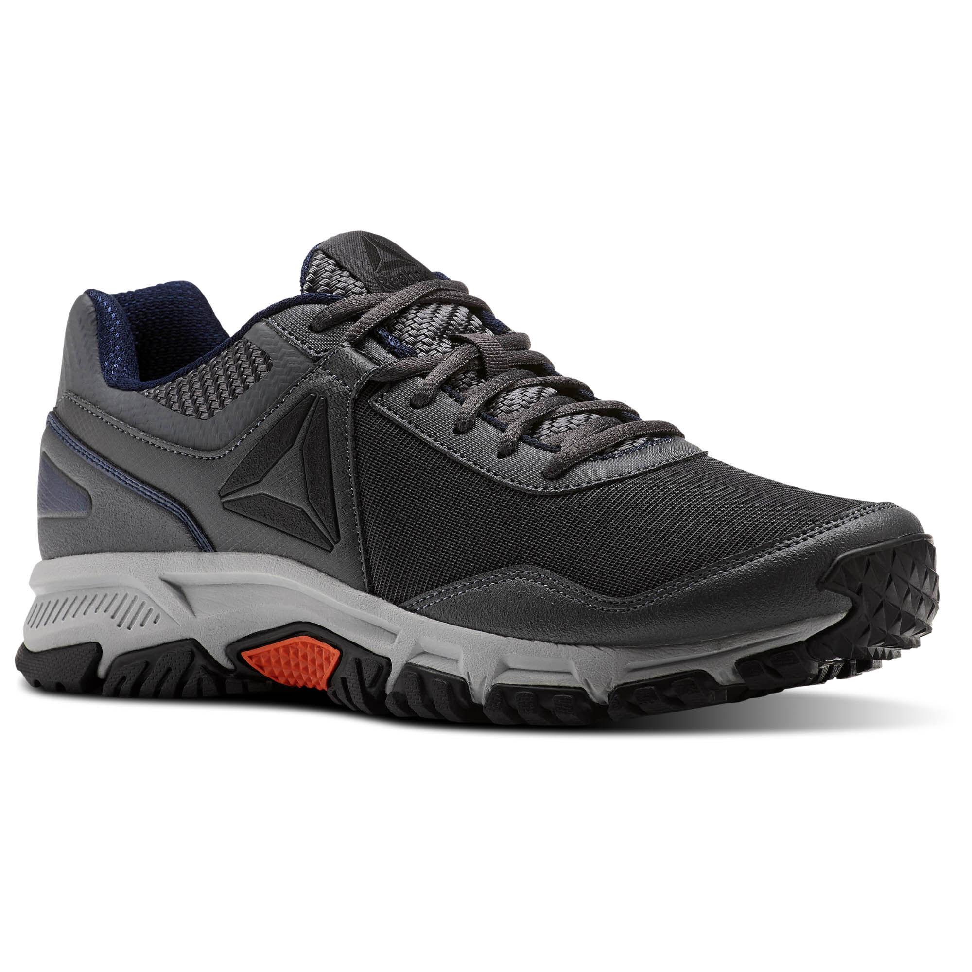 Reebok RIDGERIDER TRAIL 3.0 - Trail running shoes - grey/navy/bright lava H86pkN2dTD