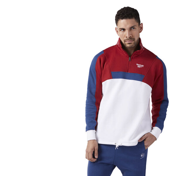 Quarter Zip Fleece Sweatshirt White CE4990