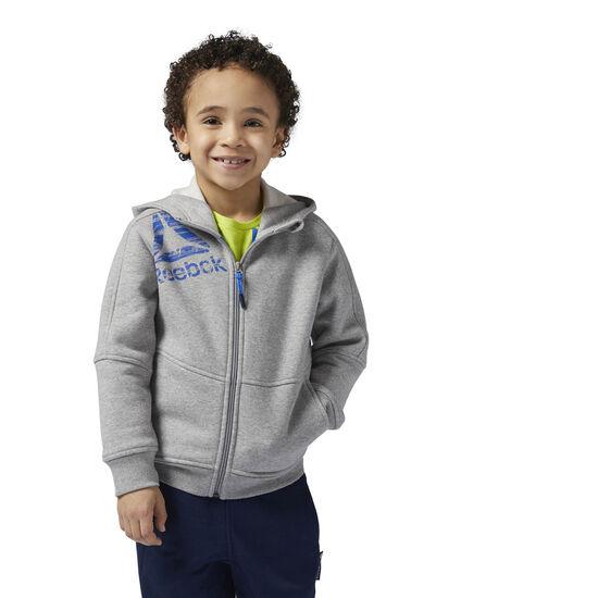 Reebok - Boy's Essentials Full Zip Fleece Hoodie Medium Grey Heather BQ5144