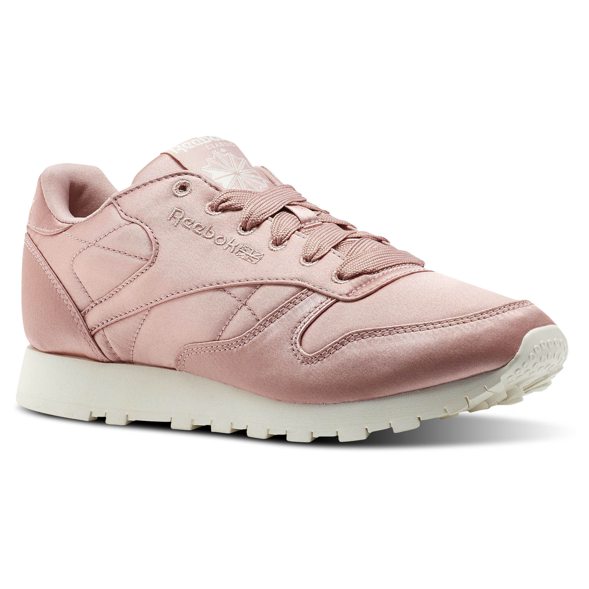 Womens Classic Leather Satin Low-Top Sneakers, Pink/White Reebok
