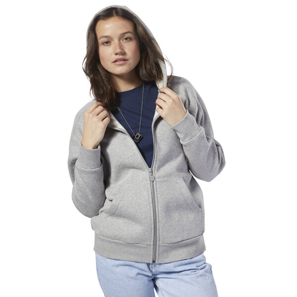 Fleece Zip Up Hoodie Grey DH1374