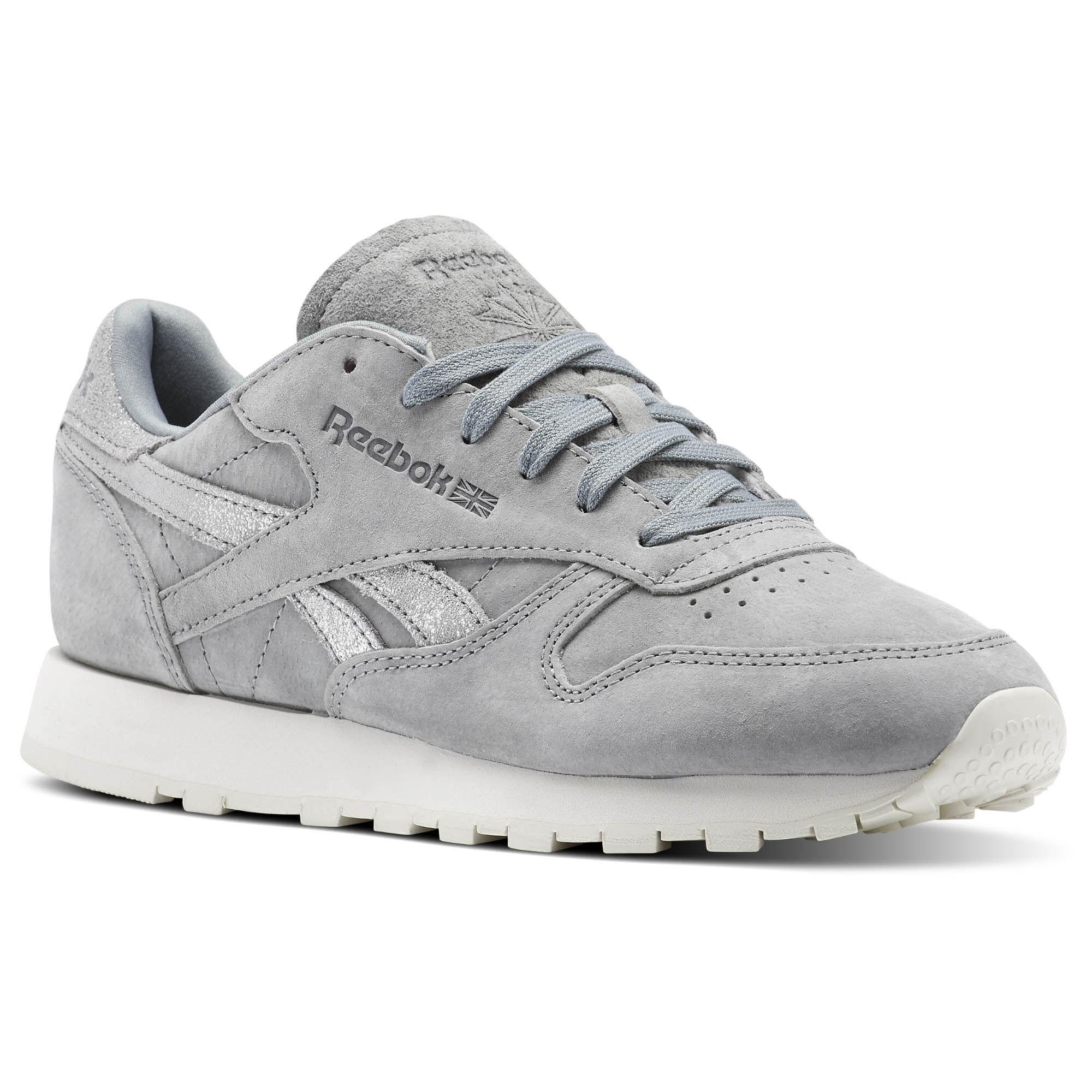 Reebok Classic Leather Shimmer Flint Grey Matte Silver Chalk Bs