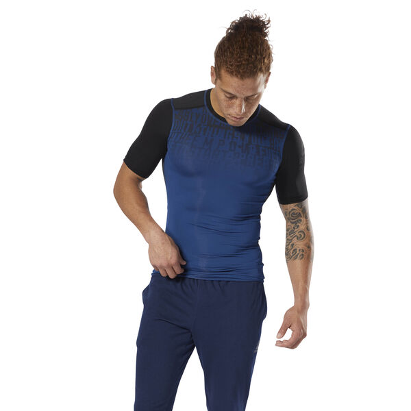 ACTIVCHILL Graphic Compression Tee Blue D93804