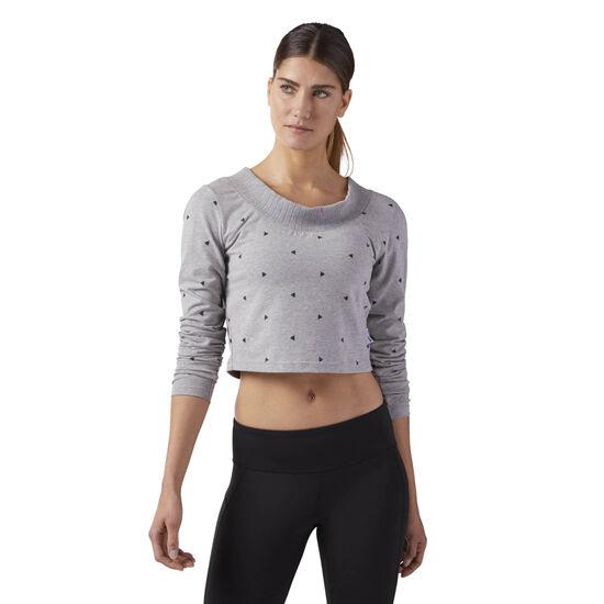 Reebok - Arrow Athletic Cropped T-Shirt Medium Grey Heather CF3146