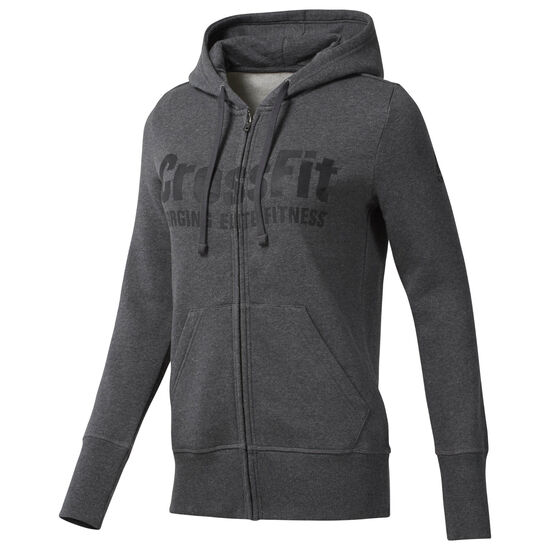 Reebok - Reebok CrossFit Full Zip Hoodie Dark Grey Heather / Black DH3723
