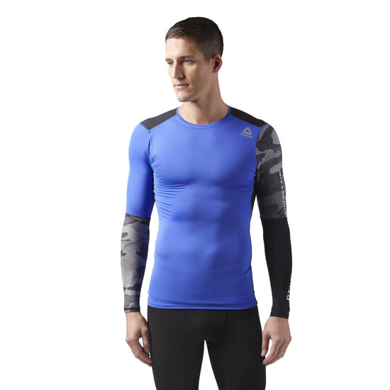 Reebok - ACTIVCHILL Graphic Long Sleeve Compression Shirt Acid Blue CF3715