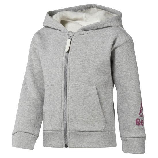 Reebok - Girls Training Essentials Fullzip Fleece Hoody Medium Grey Heather DJ3063