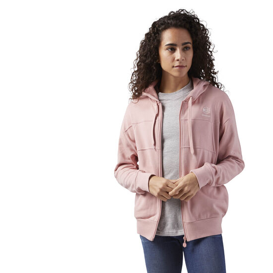 Reebok - Full Zip French Terry Hoodie Chalk Pink CY7878